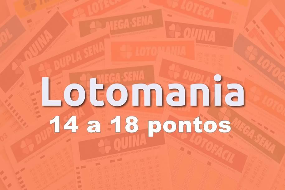 14 a 18 pontos na lotomania