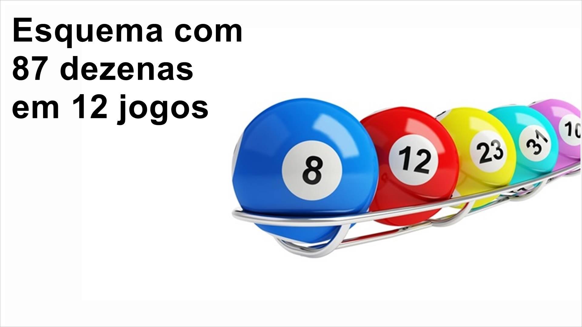 Lotomania - esquema com 87 dezenas em 12 jogos
